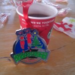 Starbucks and Christmas ornament in the VIP tent